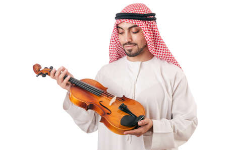 Arab man playing violin isolated on white Stock Photo - 16934226