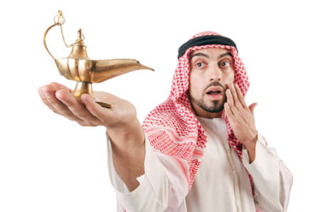Arab man with lamp isolated on white Stock Photo - 16934116