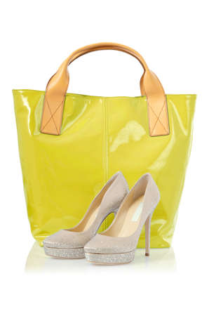 Elegant bag and shoes on white Stock Photo - 16716152