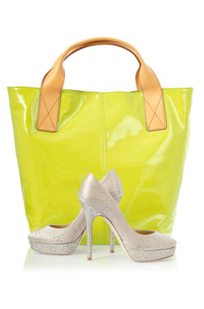 Elegant bag and shoes on white Stock Photo - 16716174