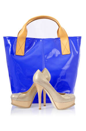Elegant bag and shoes on white Stock Photo - 16716332