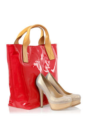 Elegant bag and shoes on white Stock Photo - 16716117