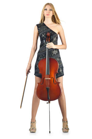 solo violinist: Woman performer with cello on white Stock Photo