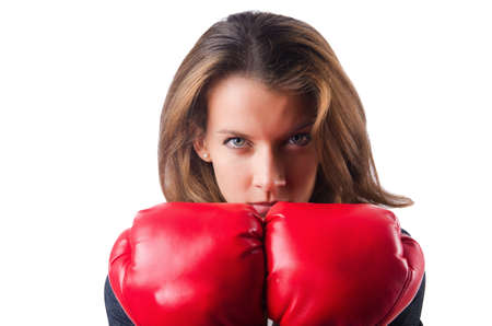 Woman businesswoman with boxing gloves on white Stock Photo - 16933999