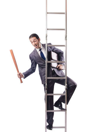 Businessman climbing the ladder isolated on white Stock Photo - 16934023