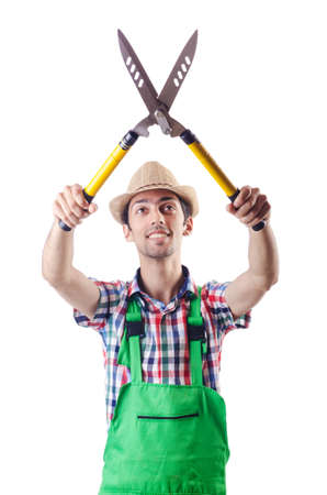 Man gardener with shears on white Stock Photo - 16933995