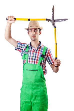 Man gardener with shears on white Stock Photo - 16934030