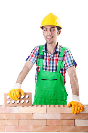 Builder with hard hat on white Stock Photo - 16934013