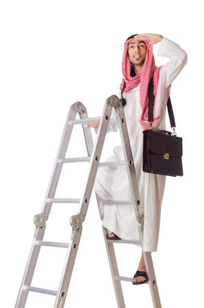 Arab Businessman climbing career ladder on white photo