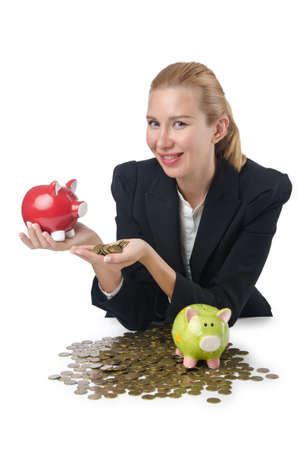 Woman breaking piggy bank for savings Stock Photo - 16934031