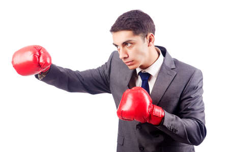 Businessman with boxing gloves on white Stock Photo - 16934270