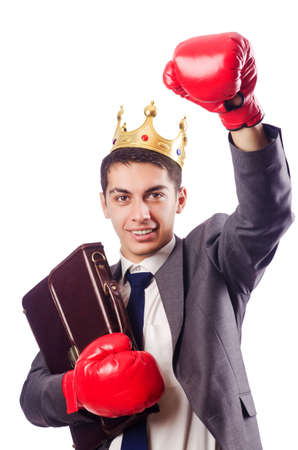 Handsome businessman with boxing gloves Stock Photo - 16934234