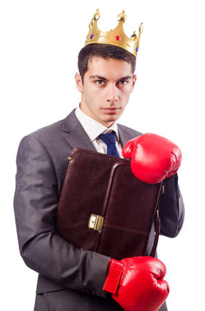 Handsome businessman with boxing gloves Stock Photo - 16765184