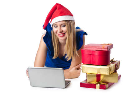 Santa woman with laptop on white Stock Photo - 16754546