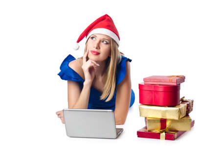 Santa woman with laptop on white Stock Photo - 16747970
