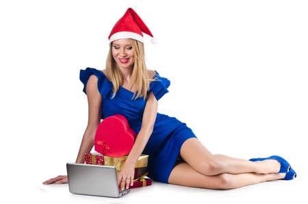 Santa woman with laptop on white Stock Photo - 16748328