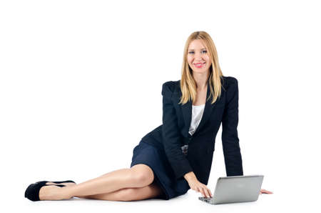 Businesswoman sitting on floor with laptop Stock Photo - 16754422