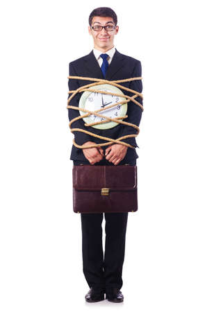 Businessman tied up with rope on white Stock Photo - 16754432
