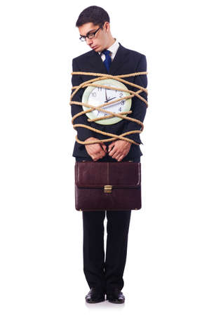 Businessman tied up with rope on white Stock Photo - 16754425
