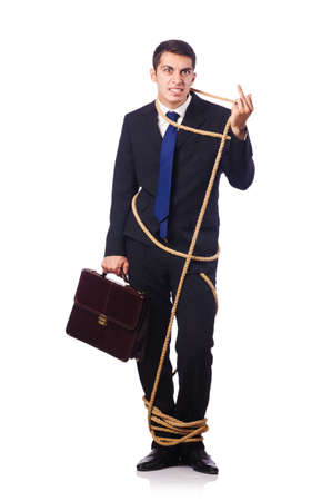 Businessman tied up with rope on white Stock Photo - 16754434