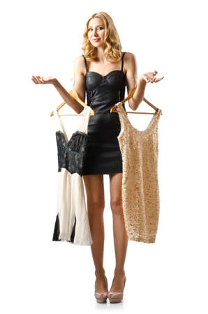 Young attractive woman trying new dresses Stock Photo - 16748007