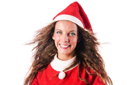 Woman santa isolated on the white Stock Photo - 16754703