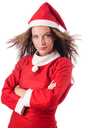 Woman santa isolated on the white Stock Photo - 16765180