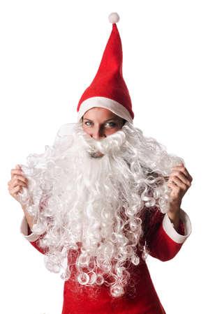 Woman santa isolated on the white Stock Photo - 16754600