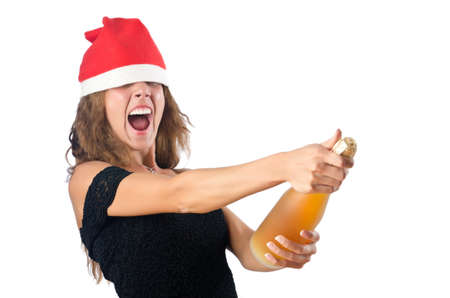 Woman santa isolated on the white Stock Photo - 16754500
