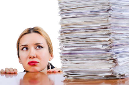 Woman businesswoman with lots of papers Stock Photo - 16754690