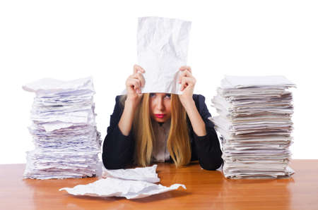 Woman businesswoman with lots of papers Stock Photo - 16754589