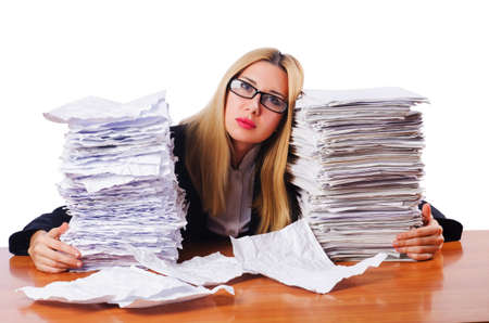 Woman businesswoman with lots of papers photo