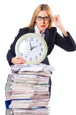 Busy woman with clock on white photo