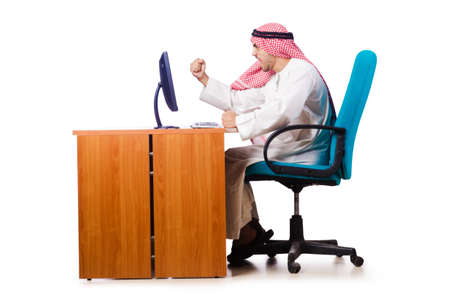 dishdasha: Arab businessman in business concept on white