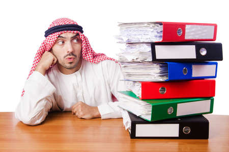 Arab businessman in business concept on white Stock Photo - 16754651