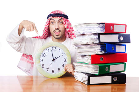 Arab businessman in business concept on white Stock Photo - 16754624