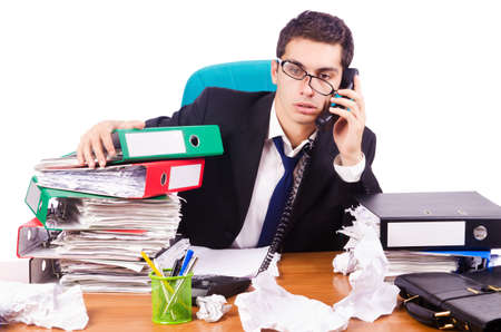 Busy stressed man in the office Stock Photo - 16754642