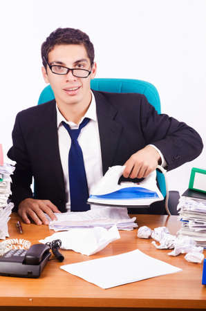Busy stressed man in the office Stock Photo - 16754701