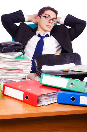 Busy stressed man in the office Stock Photo - 16754710