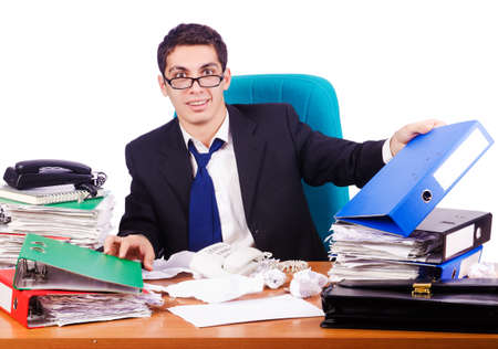 Busy stressed man in the office Stock Photo - 16754653