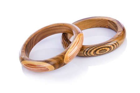 Wooden bracelet isolated on the white Stock Photo - 16716100