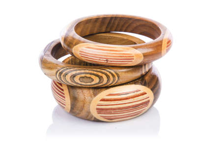 Wooden bracelet isolated on the white Stock Photo - 16716140