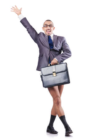 Nude businessman isolated on white Stock Photo - 16754420