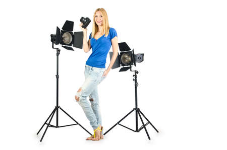 Attrative woman in photo studio photo