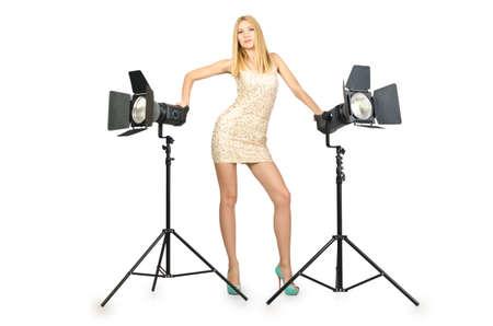 Attrative woman in photo studio photo