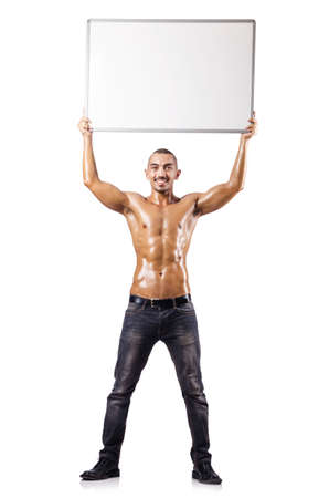 Naked man with blank board Stock Photo - 16754327