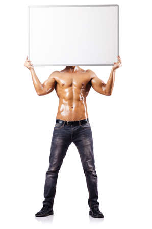 nude male: Naked man with blank board