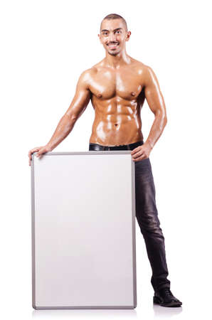 Naked man with blank board Stock Photo - 16748323