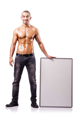 Naked man with blank board Stock Photo - 16754507