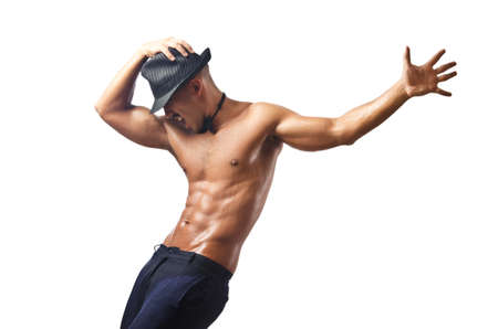 homme nu: Danseuse nue isol� sur le blanc